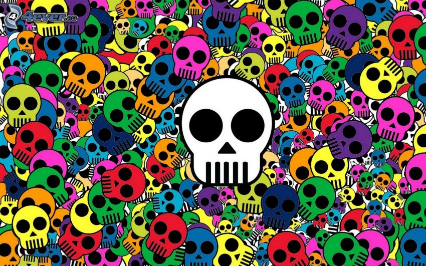 skulls, colored