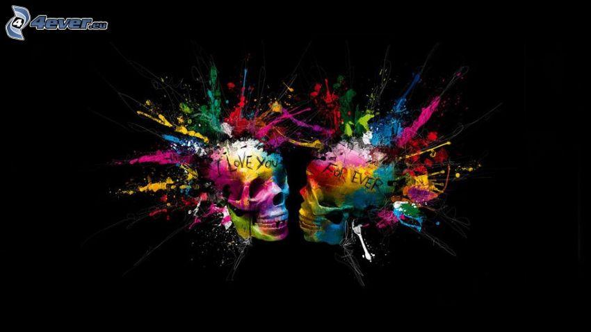 skulls, I love you, forever, colors