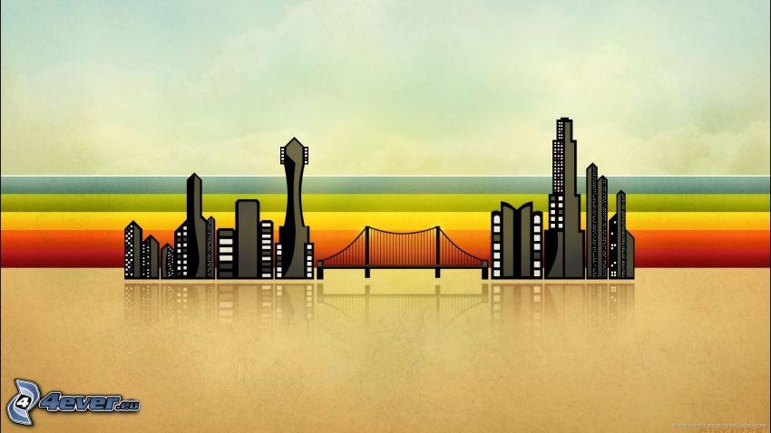 skyscrapers, bridge, rainbow