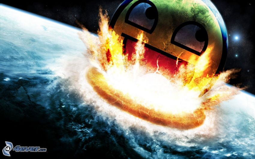 smiley, apocalyptic crash, fire