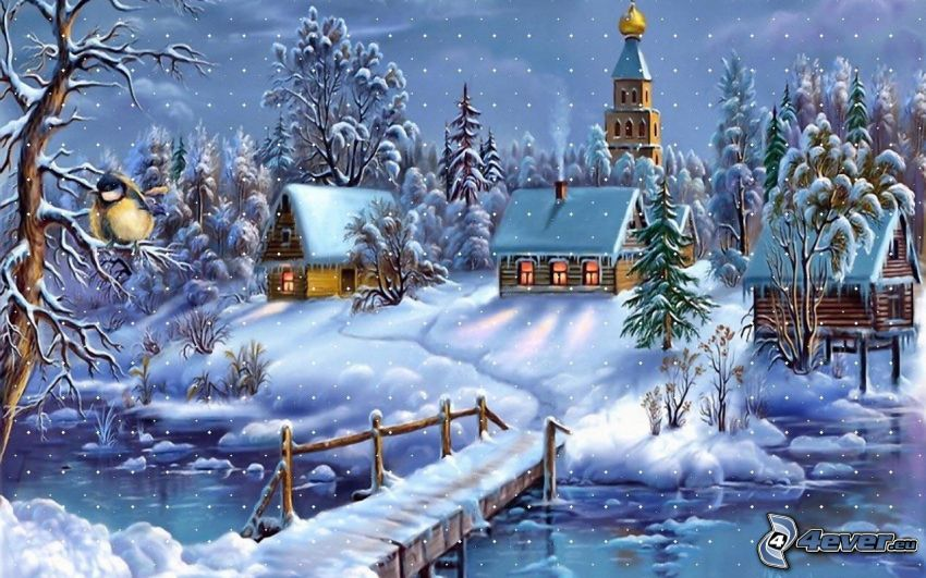 snow-covered cottages, wooden bridge, River, Thomas Kinkade