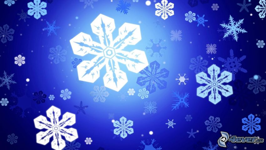 snowflakes, blue background