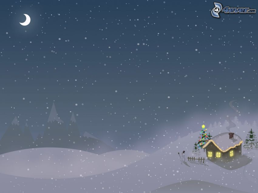 snowy landscape, house, christmas tree, snowman, moon, winter