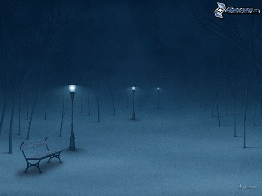 snowy park, night, fog, bench, lamps