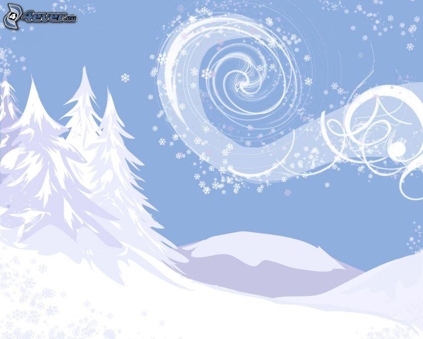 snowy trees, white lines, snowflakes
