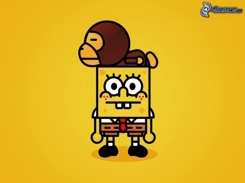 Spongebob, cartoon character, monkey