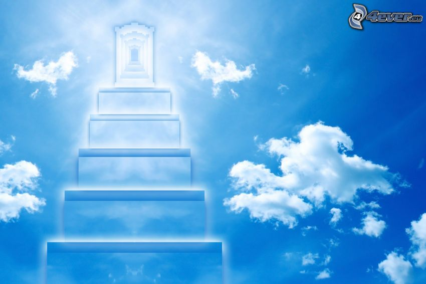 stairs to heaven, spheric gates, clouds