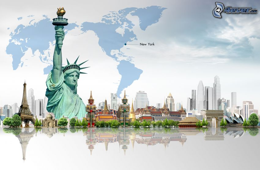 Statue of Liberty, Eiffel Tower, Sydney Opera House, map