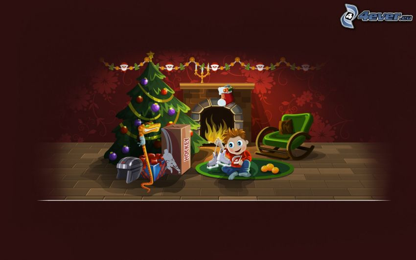 stickman, christmas tree, gifts