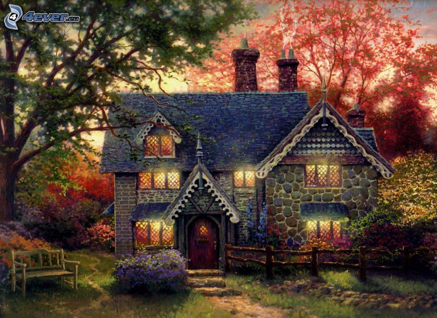 stone house, trees