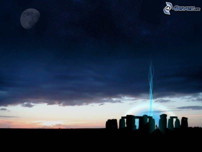 Stonehenge, silhouette, evening