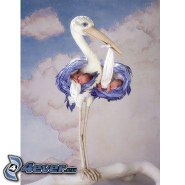 stork, sky, children