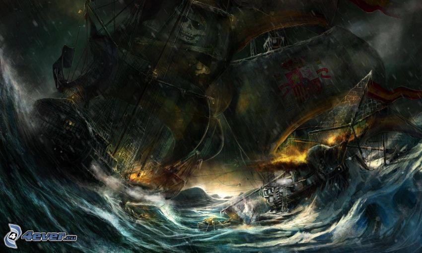 stormy sea, sailboats