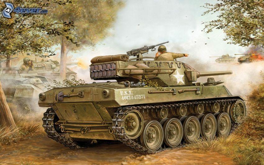 tank, shooting, World War II