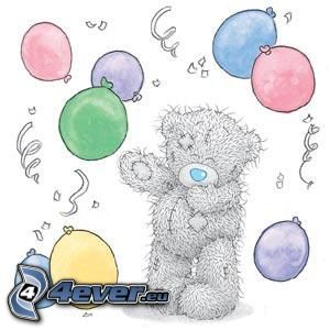teddy bear, balloons, cartoon