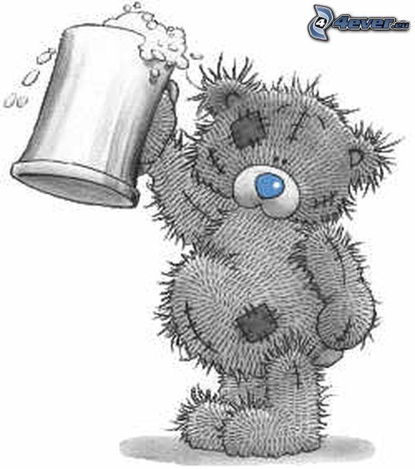 teddy bear, beer