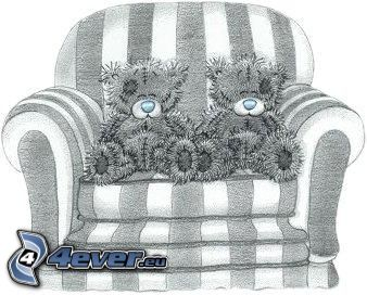 teddy bear, cartoon, chair