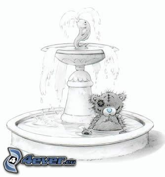 teddy bear, cartoon, fountain