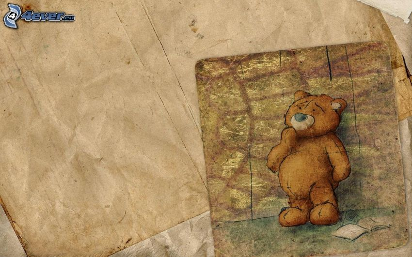 teddy bear, paper