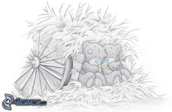teddy bear, straw, carriage