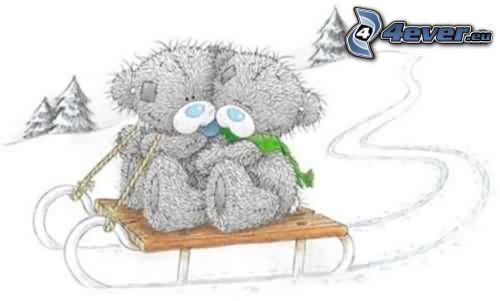 teddy bears, sled, snow, winter, love