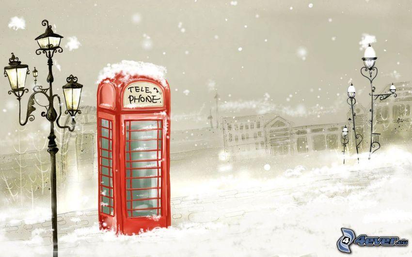 telephone booth, street lamp, snow