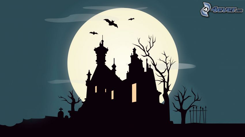the silhouette of the church, moon, bats