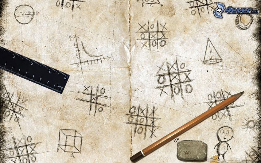 tic-tac-toe, paper, pencil, rubber, ruler