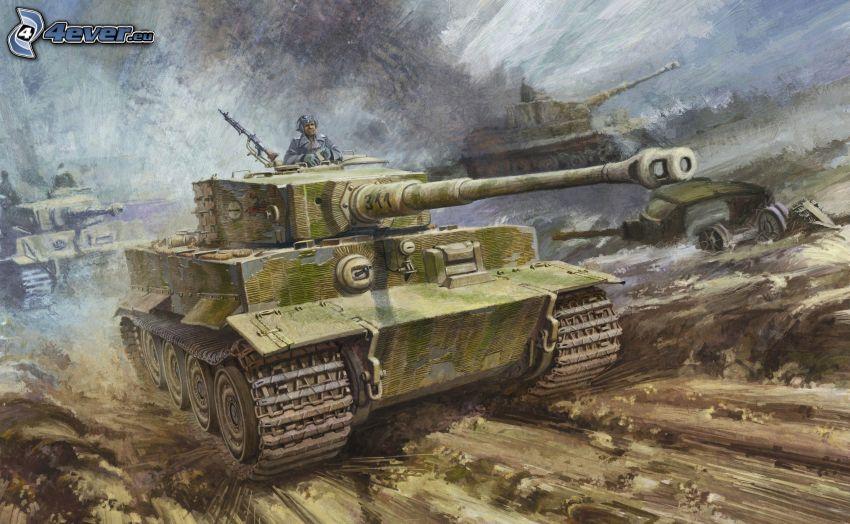 Tiger, tank, soldier, World War II
