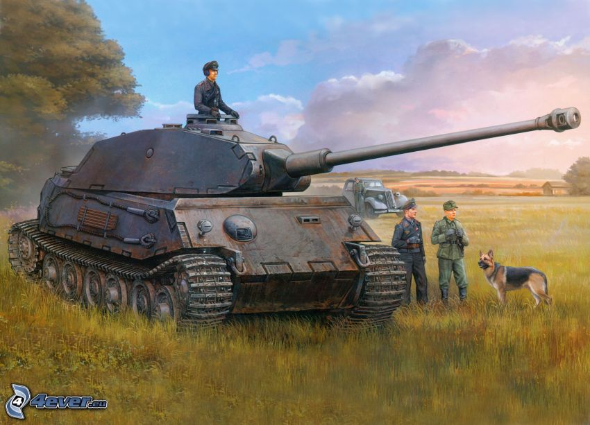 Tiger 2, tank, Wehrmacht, field, soldiers, clouds