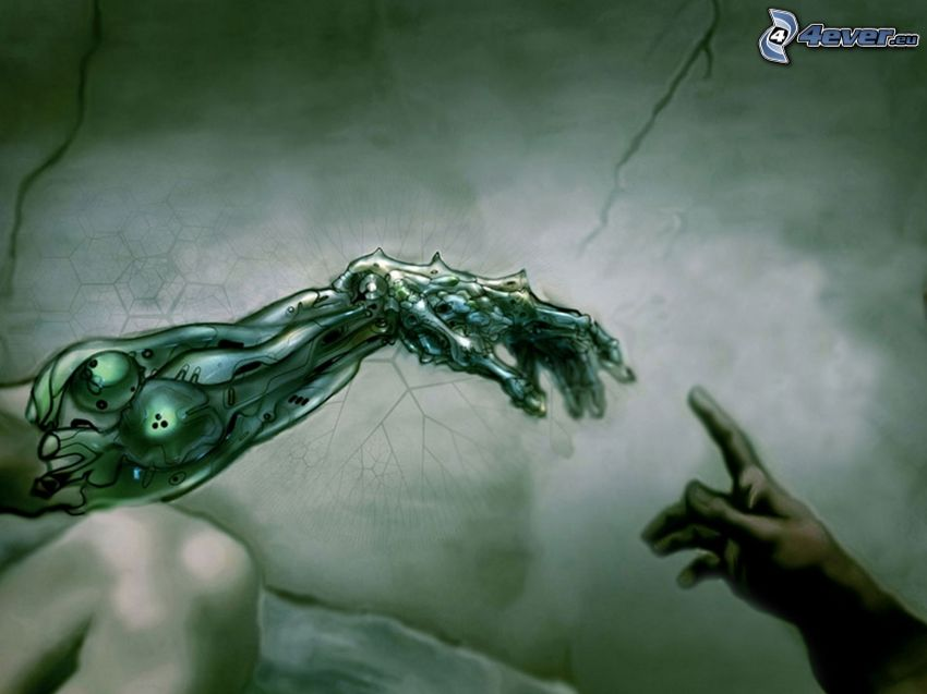 touch, hands, mechanical hand, Michelangelo, parody