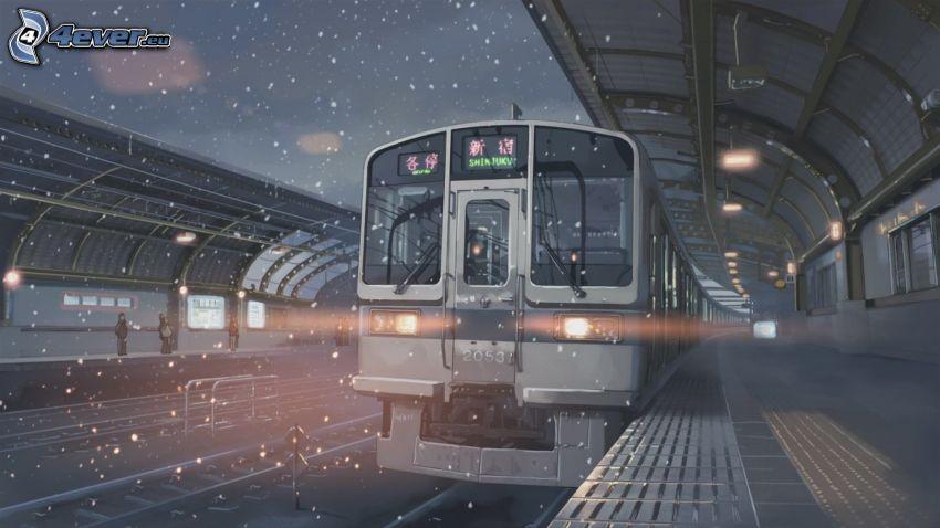 train, railway station, snow