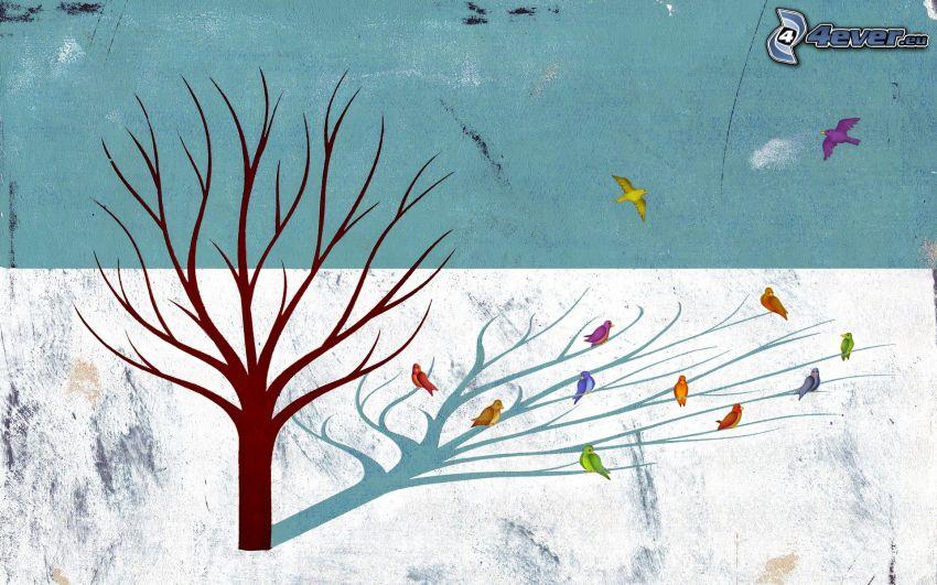 tree, birds