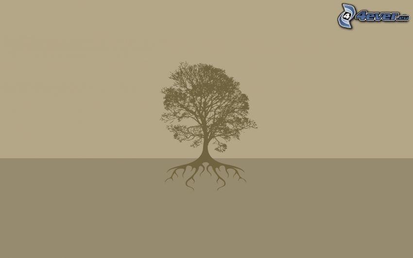 tree, silhouette of tree