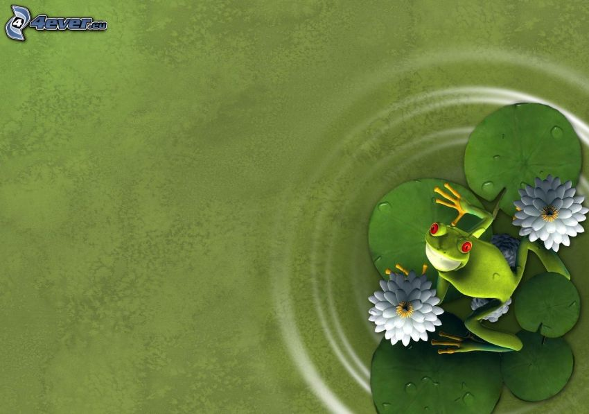 tree-frog, water lilies