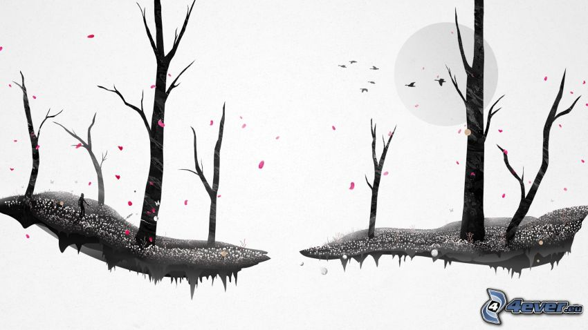 trees, flying islands
