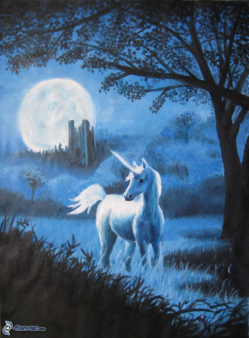 unicorn, moon, tree, forest, ruins
