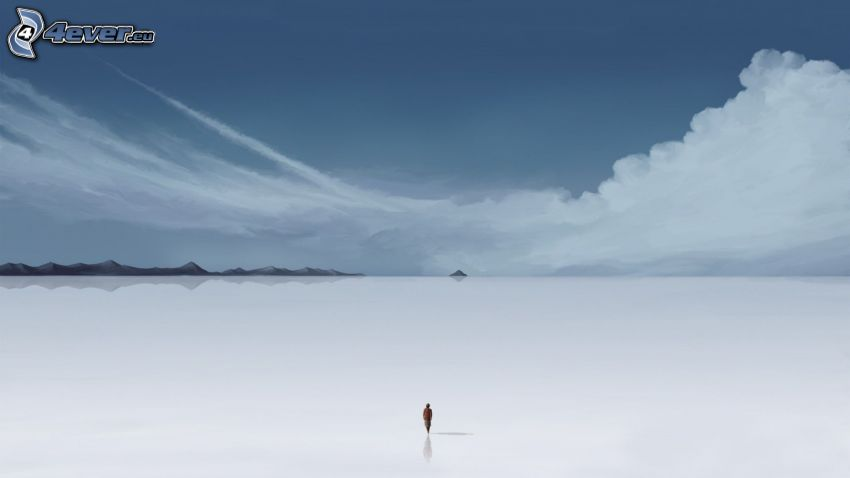 valley, human, loneliness, clouds
