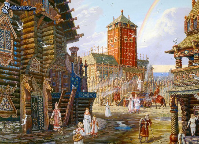 village, people, rainbow