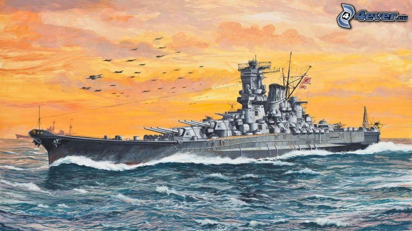 warship, sea, orange sky