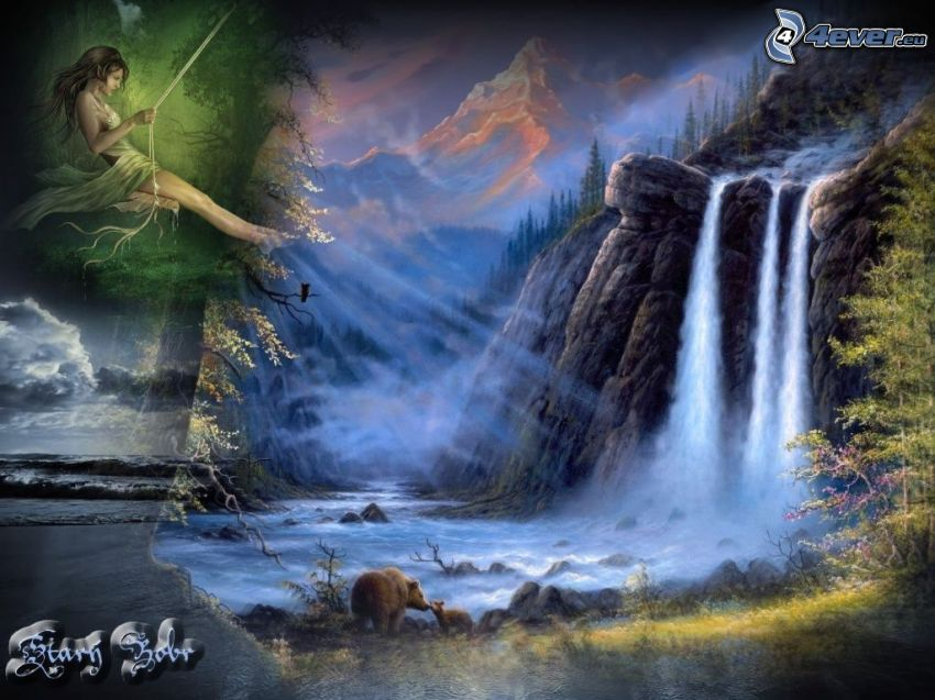 waterfalls, green fairy, brown bears
