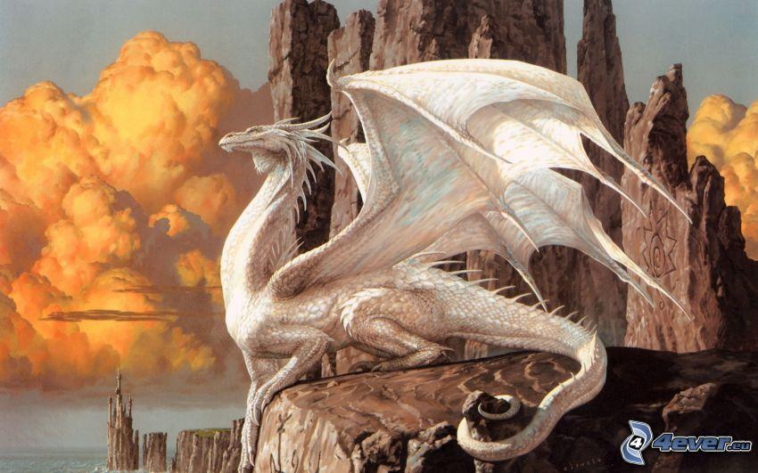 white dragon, rocks