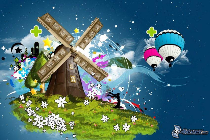 windmill, balloons