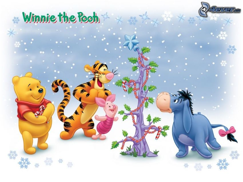 Winnie The Pooh and friends, christmas, christmas tree, snow, fairy tale