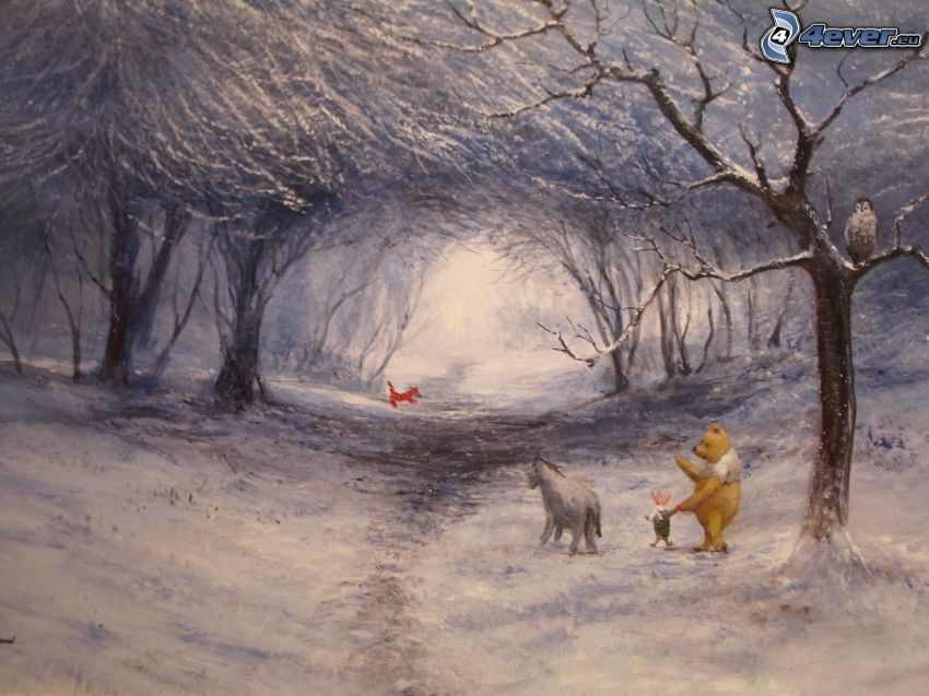 Winnie The Pooh and friends, snowy forest