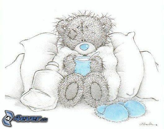 winter, pillows, teddy bear, tea