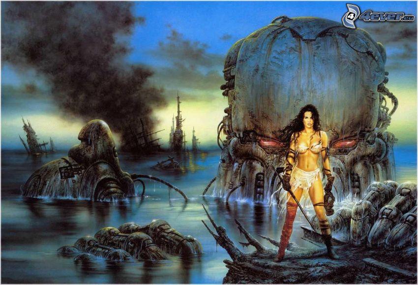 woman, monster, sea, robot, Luis Royo