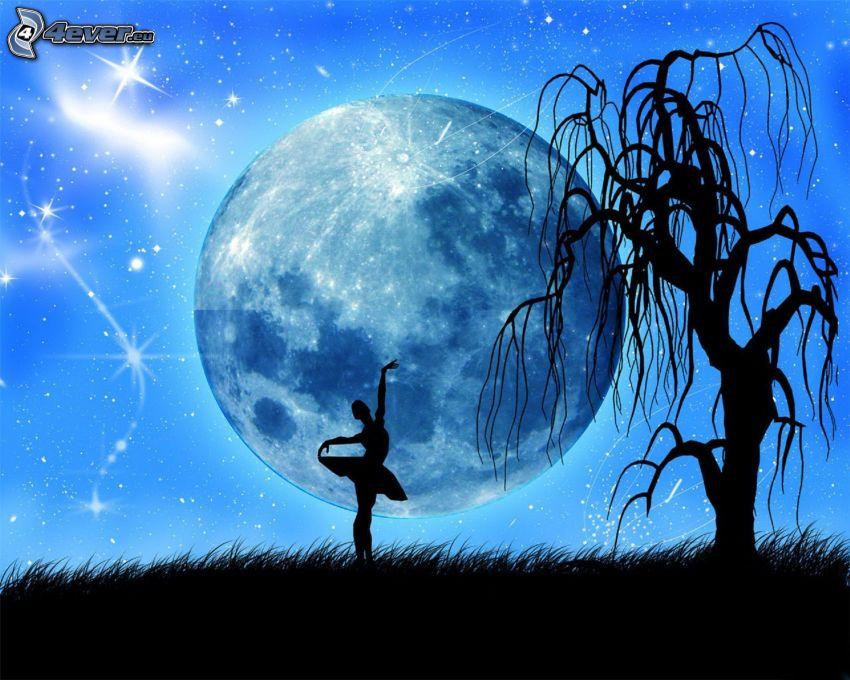 woman silhouette, ballerina, moon, silhouette of tree, stars