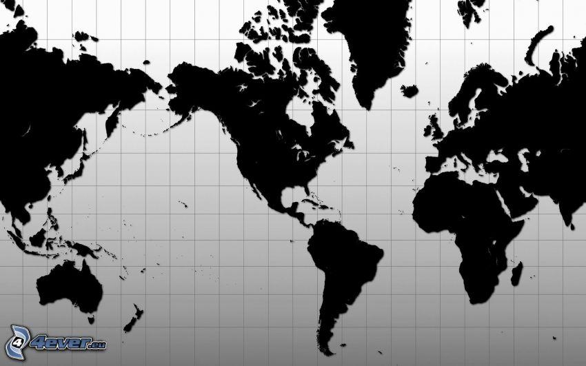 world map, America