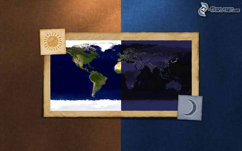 world map, day and night